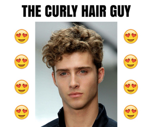 curly, guy, and hair image