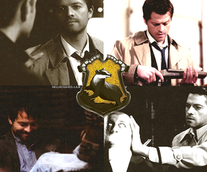 spn, hufflepuff, and castiel image