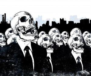 skull, black and white, and skeleton image