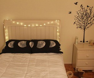bed, fairy lights, and interior image