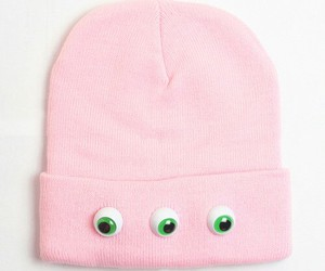 pink, beanie, and eyes image