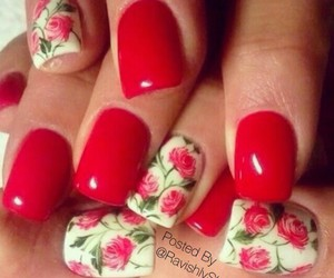red nails, flower, and nails image