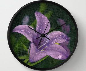 clock, green, and lily image