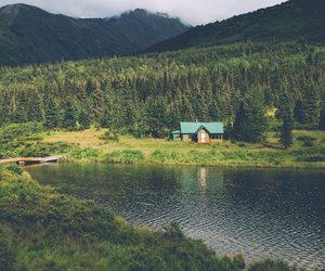 forest, house, and lake image