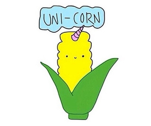 unicorn, corn, and overlay image