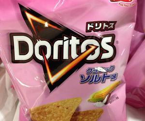 pink, doritos, and food image