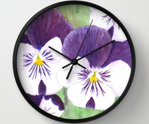 clock, flowers, and green image