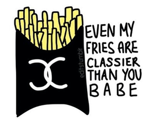 classy, fries, and black image