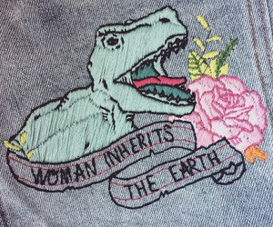 dinosaur and woman image