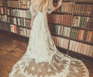 books, dress, and wedding image