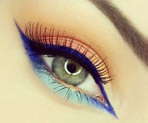 blue, make up, and makeup image