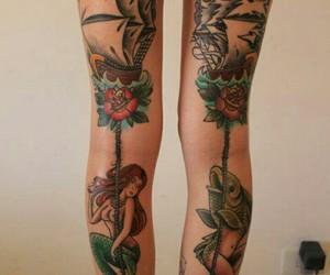 tattoo, legs, and mermaid image