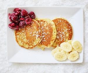 pancakes, banana, and raspberry image