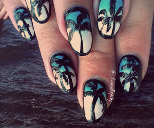 gradient, palm trees, and matte image