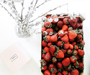 red, strawberries, and summer image
