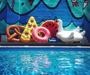 summer, watermelon, and donuts image