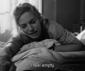 empty, black and white, and subtitles image