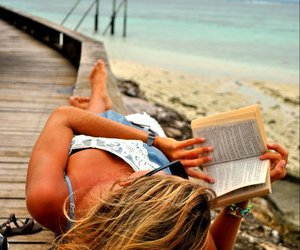 book, girl, and beach image