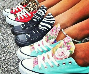 converse, shoes, and zebra image