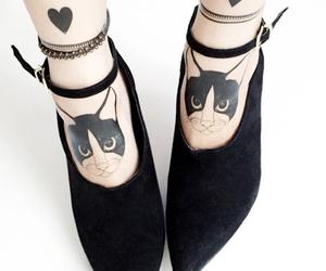 black heels, cat, and cat tattoo image