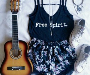 fashion, outfit, and guitar image