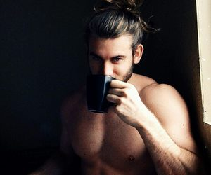 drinking, handsome, and long hair image