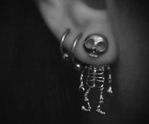 earrings, skeleton, and piercing image