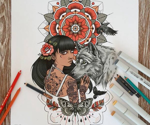 girl, rik lee, and wolf image
