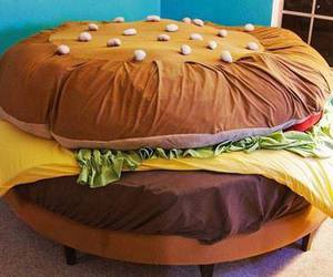 bed, hamburger, and burger image