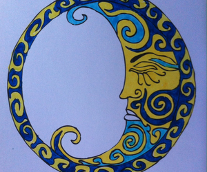 art, blue, and lune image