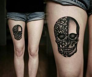 tattoo, skull, and black image
