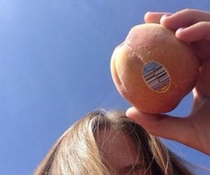 peach, girl, and sky image
