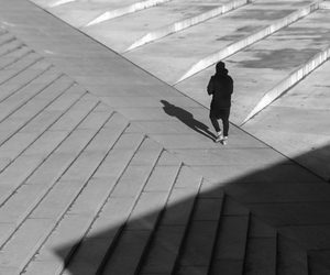 architecture, black and white, and people image