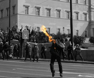 fire, police, and molotov image