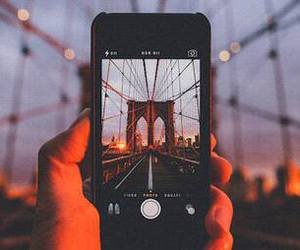 iphone, photography, and bridge image