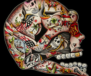 oldschool, tattoo, and skull image