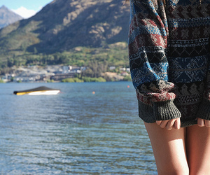 girl, sweater, and sea image