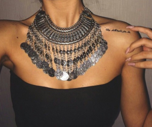 necklace, tattoo, and black image