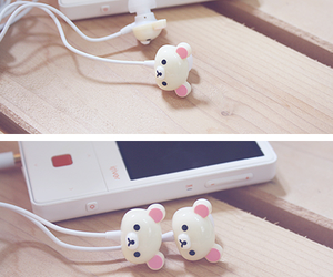 cute, earphones, and bear image