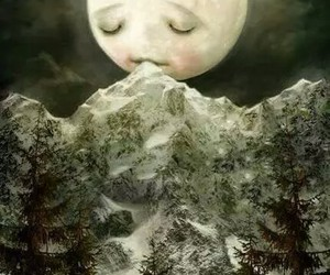 moon, mountains, and art image