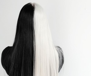 hair, black and white, and black image