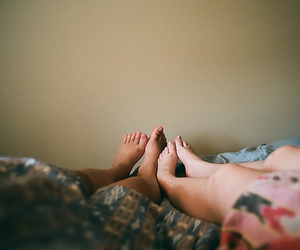 couple, feet, and bed image