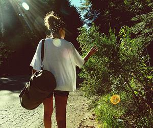 girl, hair, and bag image