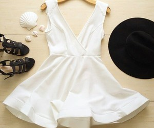 dress, hat, and white image