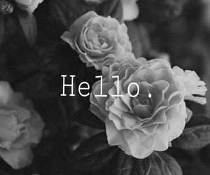 black, floral, and hello image