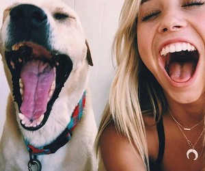 dog, girl, and smile image