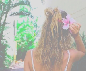 blonde, hair, and tropical image