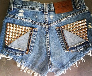 denim, fashion, and studded shorts image