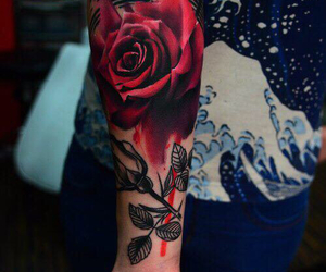 rose tattoo, tatted up, and sleeve tattoo image
