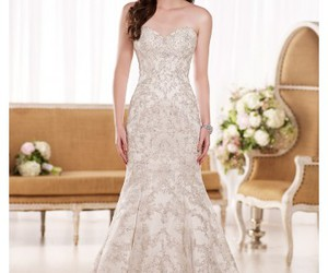wedding dress, bridal gown, and design image